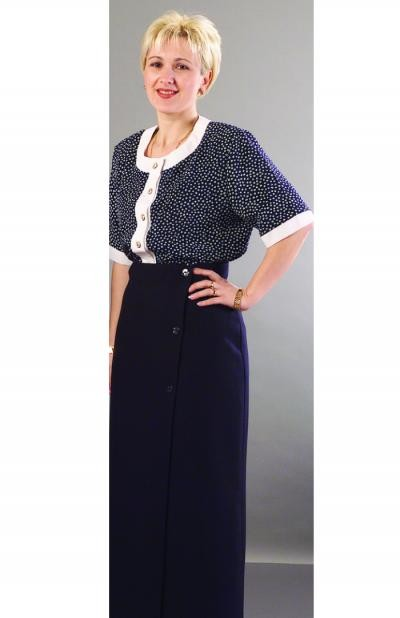 098 Printed Top (with white trim) 064A Wrap Skirt (navy montal) image